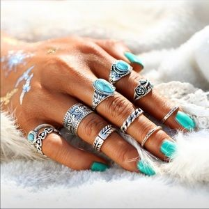 10 pc Simple Vintage Turquoise Geometric Rings